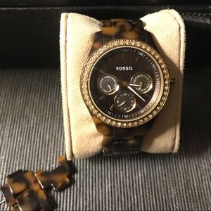 Women's tortoise Fossil watch